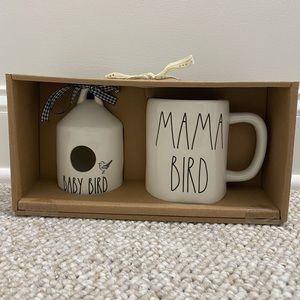 Rae Dunn mama bird mug and baby bird birdhouse